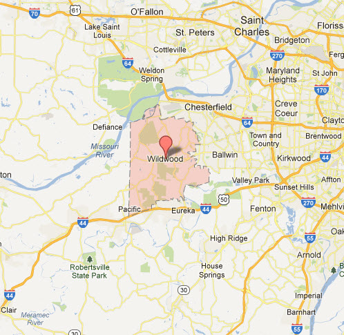 Wildwood Mo Appliance Repair Service Company Map Coverage Area